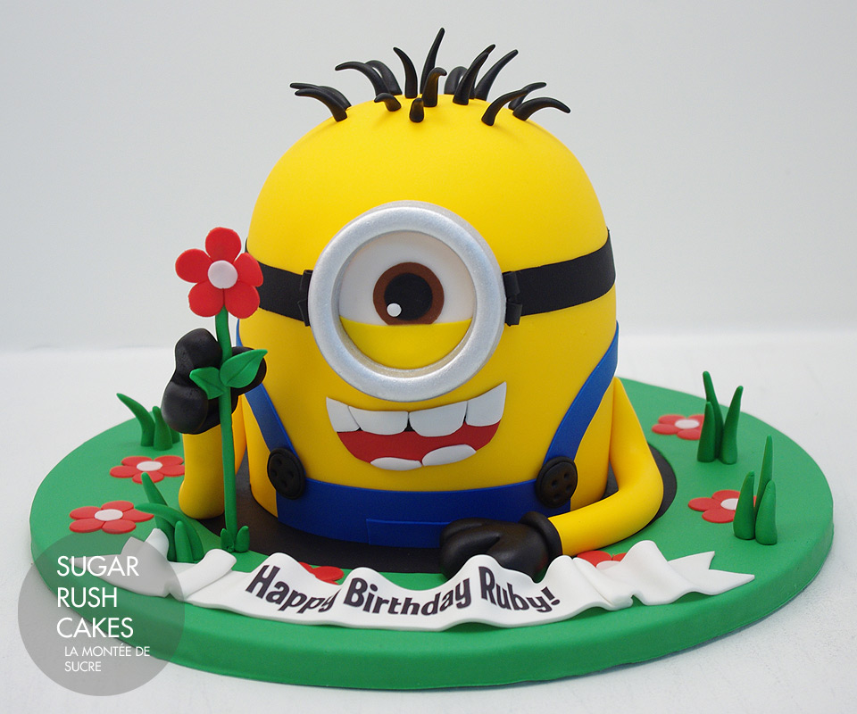 Minion with flower Sugar Rush Cakes Montreal