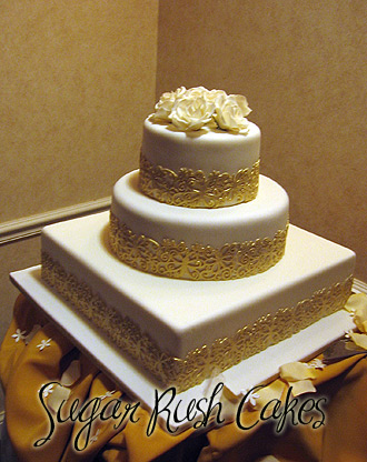 Gold Lace Wedding Cake Sugar Rush Cakes Montreal