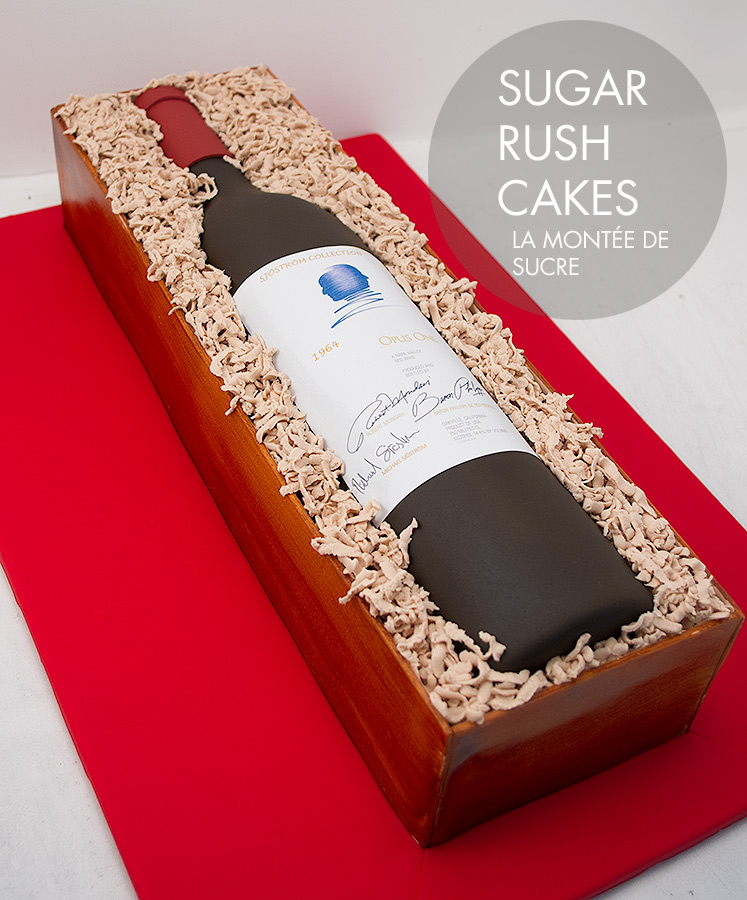Opus one wine bottle cake
