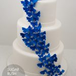 Blue butterflies wedding cake