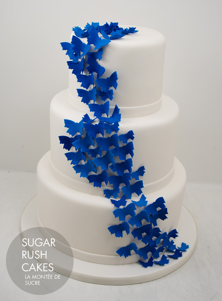 Wedding cakes sugar rush cakes montreal blue butterflies wedding cake junglespirit Images