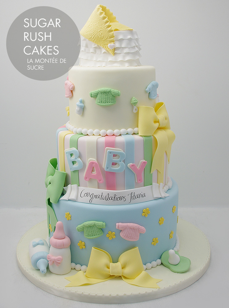 Baby Shower Cakes Montreal ~ Tiered baby shower cake