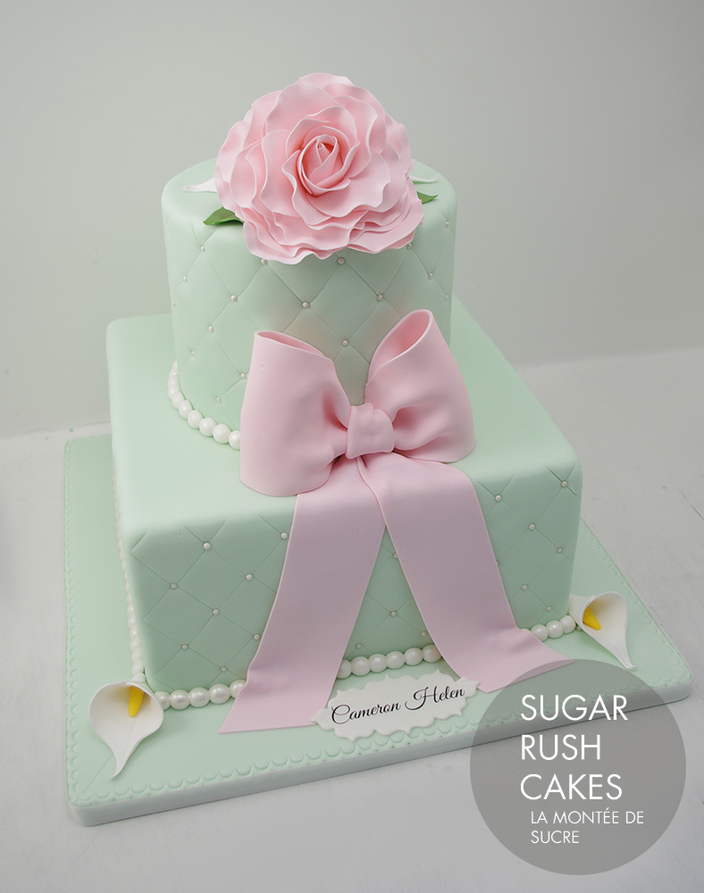 Mint green baptism cake