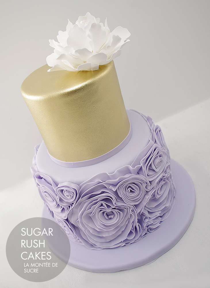 Purple and gold wedding cake | Sugar Rush Cakes Montreal