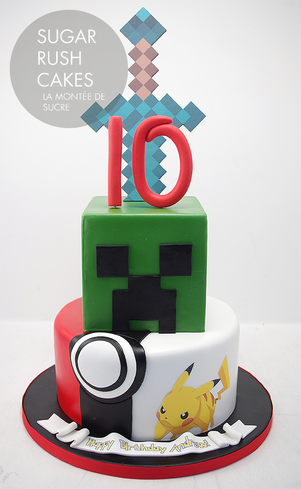 Minecraft Pokemon mashup cake