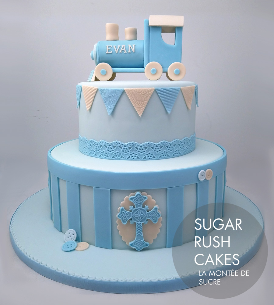blue train baptism cake