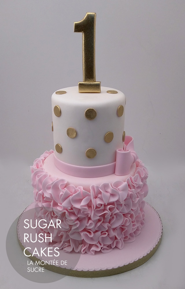 pink ruffles cake
