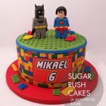Lego Batman and Superman Cake