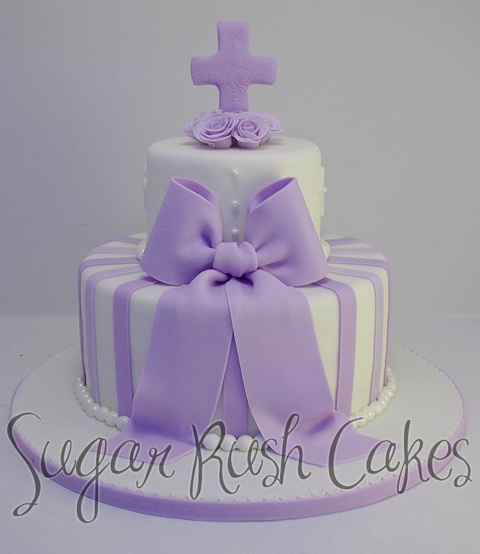 Tiered Purple Baptism Cake