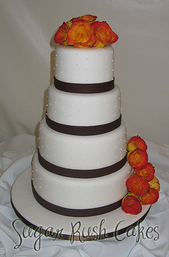 wedding cakes montreal wed 4t brown ribbon 25049