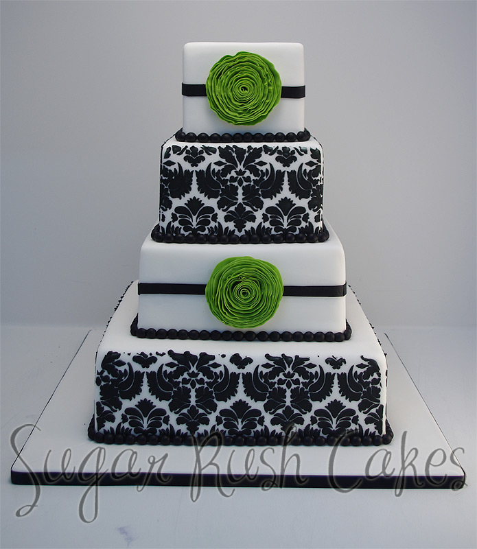 wedding cakes montreal wed 4t sq damask green flower 25049