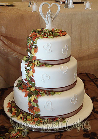 wedding cakes montreal wed 3t fall leaves 25049